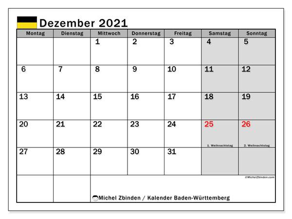 Kalender Dezember 2021, mit den Feiertagen in Baden-Württemberg. Kalender Feiertage frei zum ausdrucken.