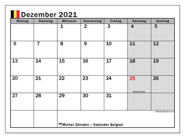 Kalender Dezember 2021, mit den Feiertagen von Belgien. Kalender mit Feiertagen zum kostenlosen ausdrucken.