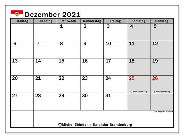 Kalender Dezember 2021, mit den Feiertagen in Brandenburg. Kalender Feiertage frei zum ausdrucken.