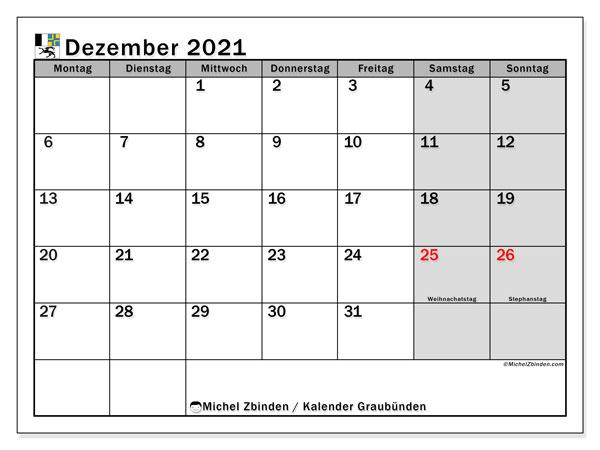 Kalender Dezember 2021, mit den Feiertagen des Kantons Graubünden. Kalender Feiertage frei zum ausdrucken.
