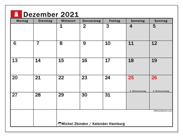 Kalender Dezember 2021, mit den Feiertagen in Hamburg. Kalender Feiertage frei zum ausdrucken.