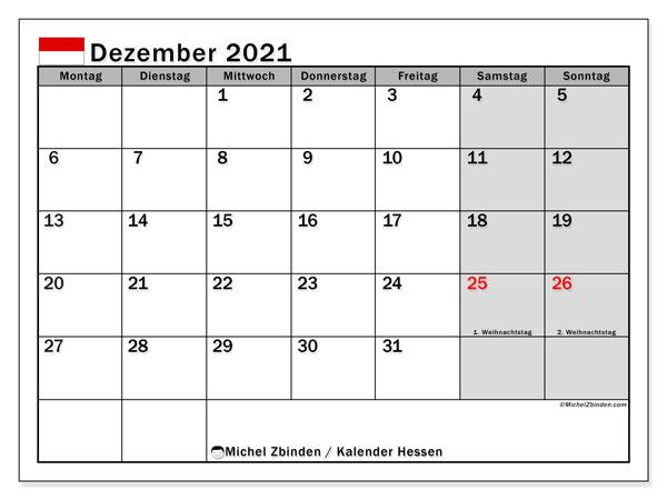 Kalender Dezember 2021, mit den Feiertagen in Hessen. Kalender mit Feiertagen zum kostenlosen ausdrucken.