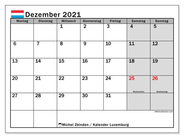 Kalender Dezember 2021, mit den Feiertagen in Luxemburg. Kalender mit Feiertagen zum kostenlosen ausdrucken.