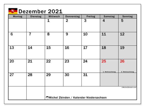 Kalender Dezember 2021, mit den Feiertagen in Niedersachsen. Kalender Feiertage frei zum ausdrucken.