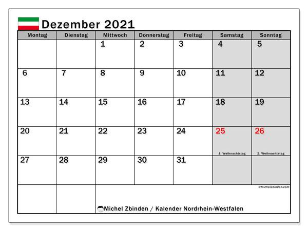 Kalender Dezember 2021, mit den Feiertagen in Nordrhein-Westfalen. Kalender Feiertage frei zum ausdrucken.