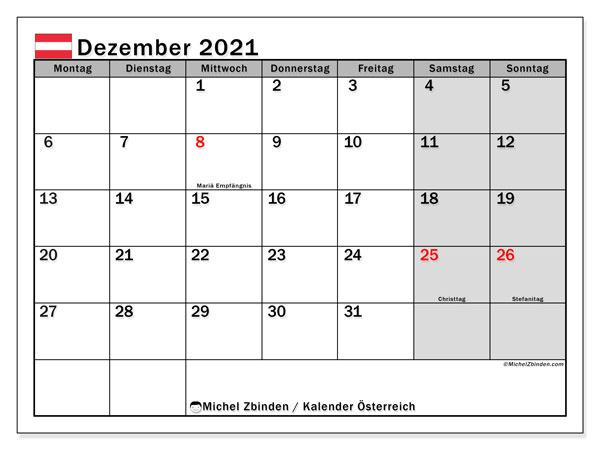 Kalender Dezember 2021, mit den Feiertagen von Österreich. Kalender mit Feiertagen zum kostenlosen ausdrucken.