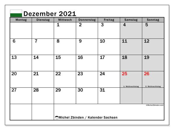 Kalender Dezember 2021, mit den Feiertagen in Sachsen. Kalender Feiertage frei zum ausdrucken.