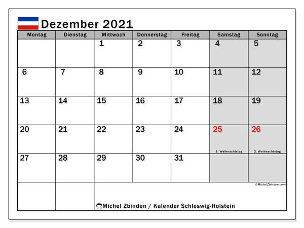 Kalender Dezember 2021, mit den Feiertagen in Schleswig-Holstein. Kalender mit Feiertagen zum kostenlosen ausdrucken.