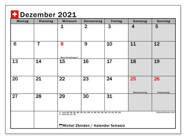 Kalender Dezember 2021, mit den Feiertagen der  Schweiz. Kalender Feiertage frei zum ausdrucken.