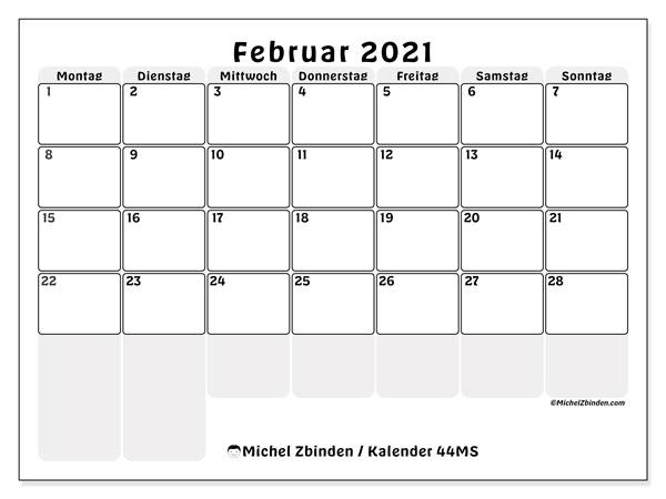 Kalender Februar 2021, 44MS. Zeitplan zum kostenlosen ausdrucken.
