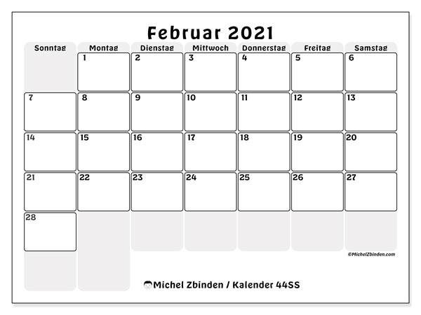 Kalender Februar 2021, 44SS. Kostenloser Kalender zum ausdrucken.