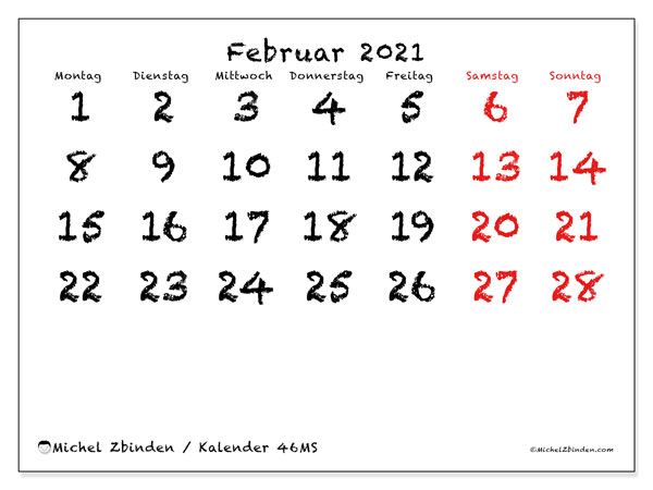Kalender Februar 2021, 46MS. Kostenloser Kalender zum ausdrucken.