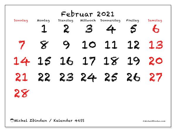 Kalender Februar 2021, 46SS. Monatlicher Zeitplan zum kostenlosen ausdrucken.