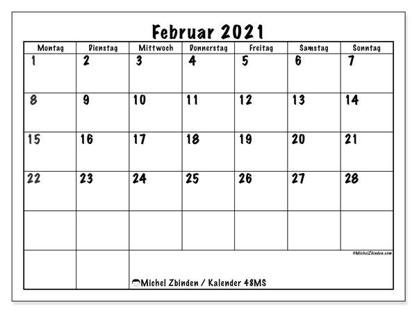 Kalender Februar 2021, 48MS. Monatlicher Zeitplan zum kostenlosen ausdrucken.