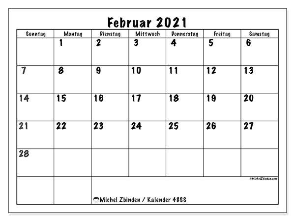 Kalender Februar 2021, 48SS. Planer zum kostenlosen ausdrucken.