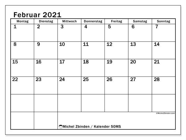 Kalender Februar 2021, 50MS. Kalender für den Monat zum kostenlosen ausdrucken.