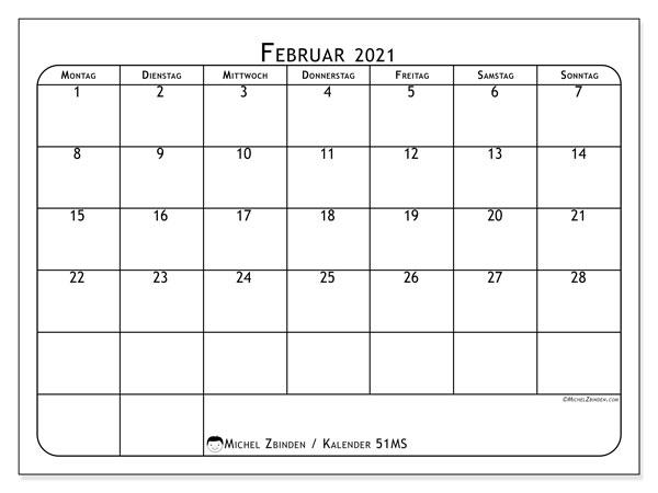 Kalender Februar 2021, 51MS. Kostenlos ausdruckbare Planer.
