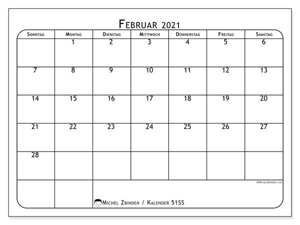 Kalender Februar 2021, 51SS. Monatlicher Zeitplan zum kostenlosen ausdrucken.