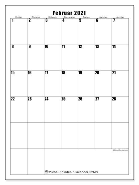 Kalender Februar 2021, 52MS. Kostenloser Kalender zum ausdrucken.