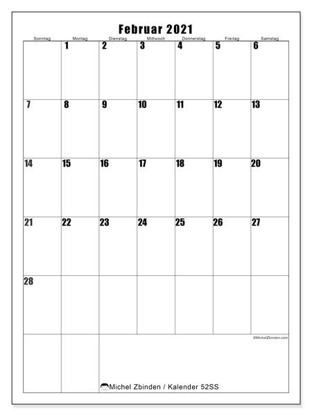 Kalender Februar 2021, 52SS. Monatskalender zum kostenlosen ausdrucken.