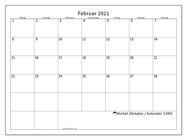 Kalender Februar 2021, 53MS. Monatlicher Zeitplan zum kostenlosen ausdrucken.