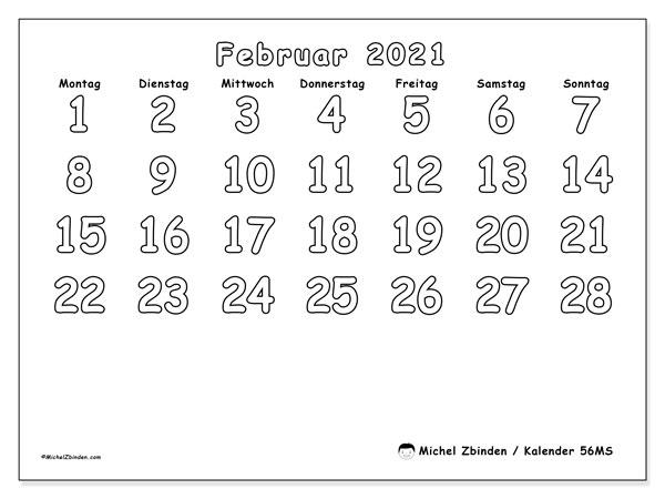 Kalender Februar 2021, 56MS. Monatlicher Zeitplan zum kostenlosen ausdrucken.