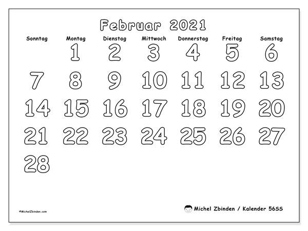 Kalender Februar 2021, 56SS. Kostenloser Zeitplan zum ausdrucken.