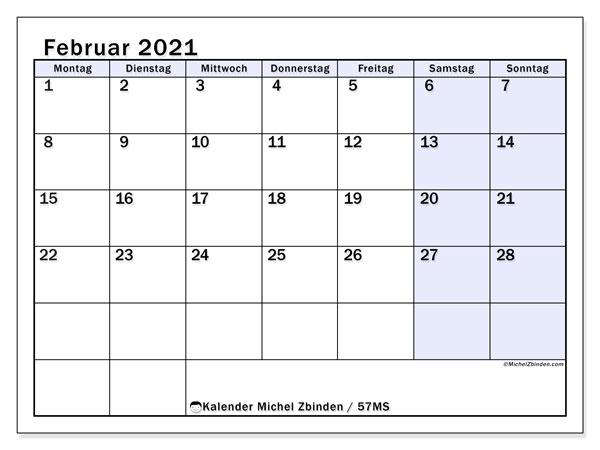 Kalender Februar 2021, 57MS. Kostenlos ausdruckbare Planer.
