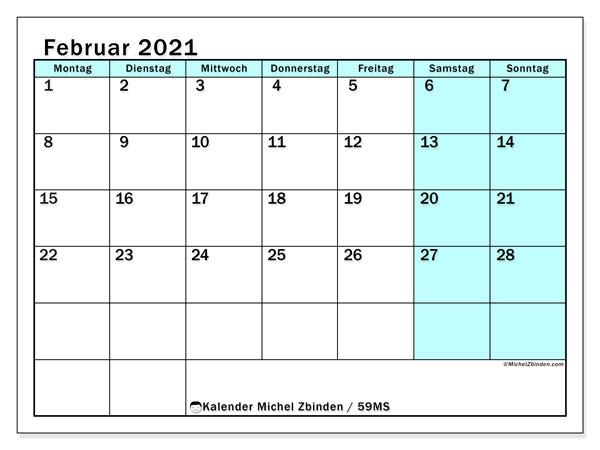 Kalender Februar 2021, 59MS. Kostenlos ausdruckbare Kalender.
