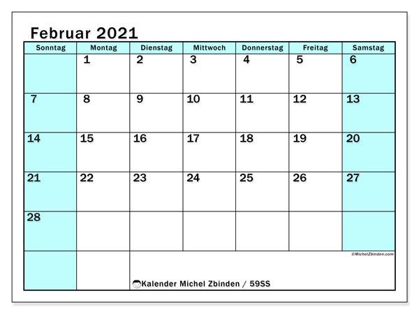 Kalender Februar 2021, 59SS. Kostenloser Zeitplan zum ausdrucken.