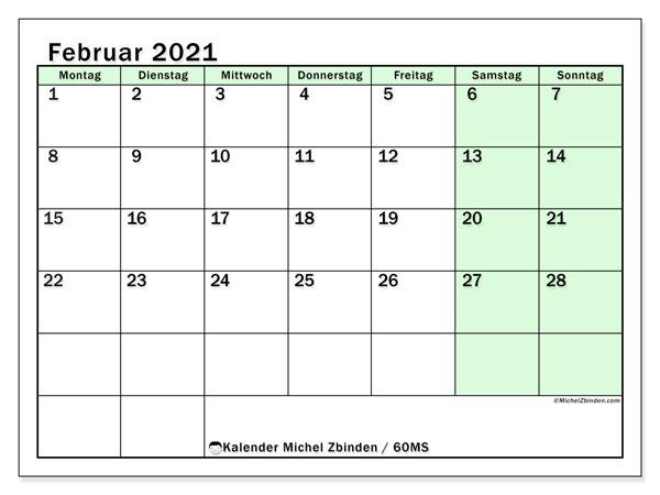 Kalender Februar 2021, 60MS. Zeitplan zum kostenlosen ausdrucken.