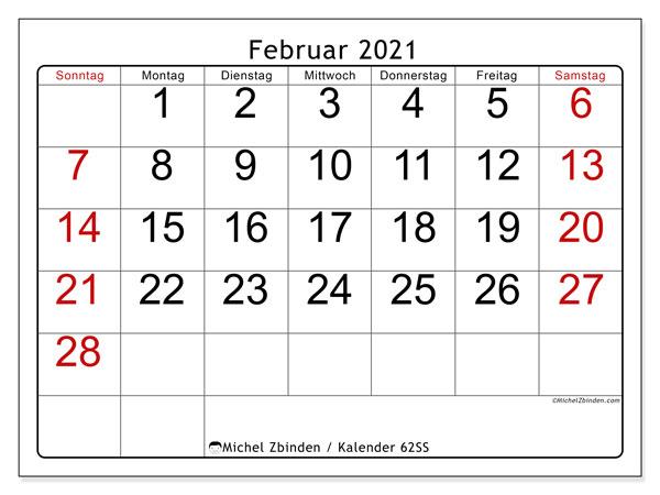 Kalender Februar 2021, 62SS. Kalender für den Monat zum kostenlosen ausdrucken.