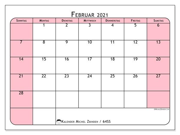 Kalender Februar 2021, 64SS. Zeitplan zum kostenlosen ausdrucken.
