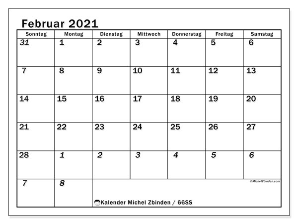 Kalender Februar 2021, 66SS. Zeitplan zum kostenlosen ausdrucken.