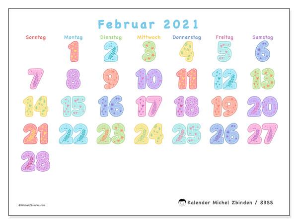Kalender Februar 2021, 83SS. Monatskalender zum kostenlosen ausdrucken.