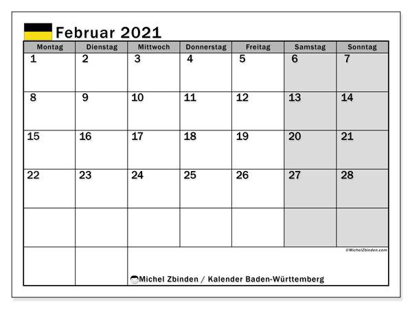 Kalender Februar 2021, mit den Feiertagen in Baden-Württemberg. Kalender mit Feiertagen zum kostenlosen ausdrucken.