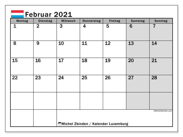 Kalender Februar 2021, mit den Feiertagen in Luxemburg. Kalender Feiertage frei zum ausdrucken.