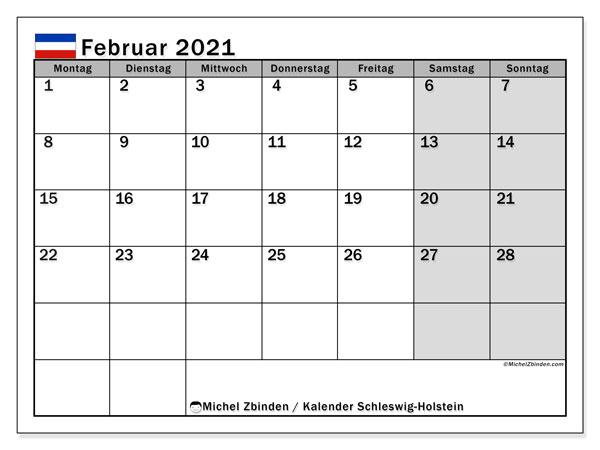 Kalender Februar 2021, mit den Feiertagen in Schleswig-Holstein. Kalender mit Feiertagen zum kostenlosen ausdrucken.