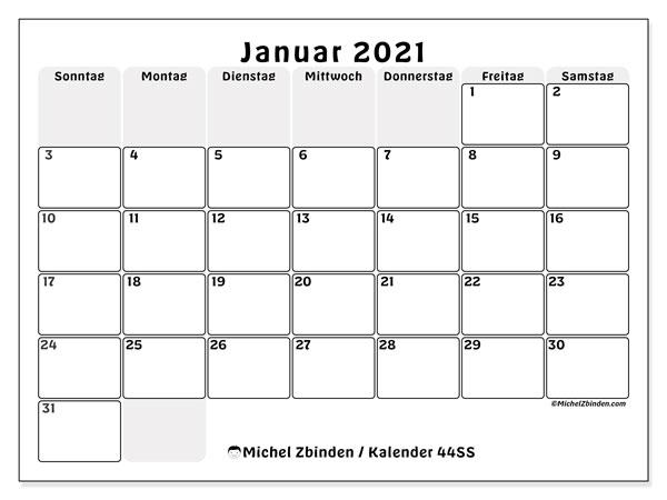 Kalender Januar 2021, 44SS. Monatlicher Kalender zum kostenlosen ausdrucken.