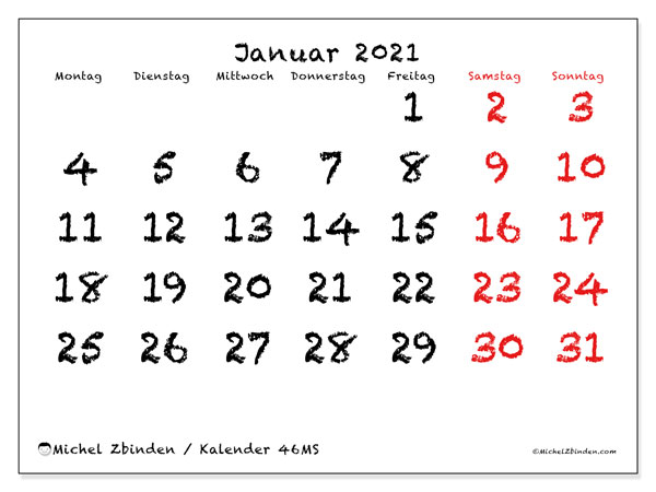 Kalender Januar 2021, 46MS. Kostenlos ausdruckbare Zeitplan.