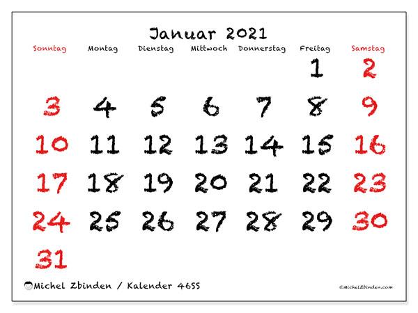 Kalender Januar 2021, 46SS. Kalender für den Monat zum kostenlosen ausdrucken.