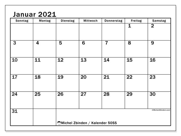 Kalender Januar 2021, 50SS. Kostenloser Zeitplan zum ausdrucken.