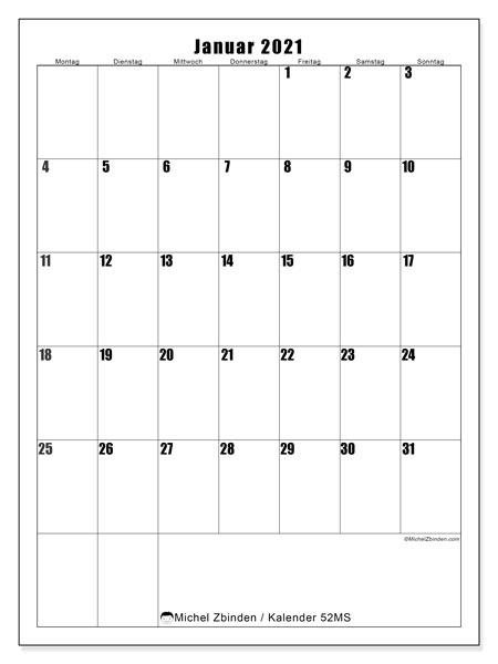 Kalender Januar 2021, 52MS. Kalender zum kostenlosen ausdrucken.