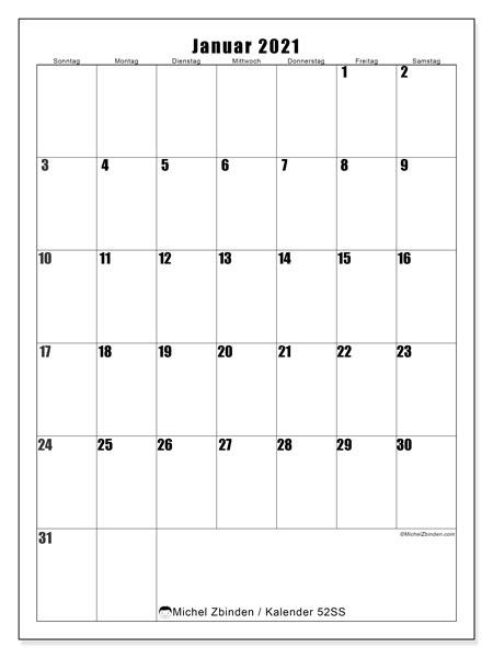 Kalender Januar 2021, 52SS. Kostenloser Zeitplan zum ausdrucken.