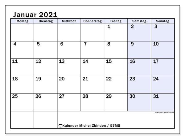 Kalender Januar 2021, 57MS. Kostenloser Kalender zum ausdrucken.