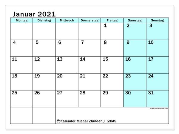 Kalender Januar 2021, 59MS. Monatlicher Zeitplan zum kostenlosen ausdrucken.