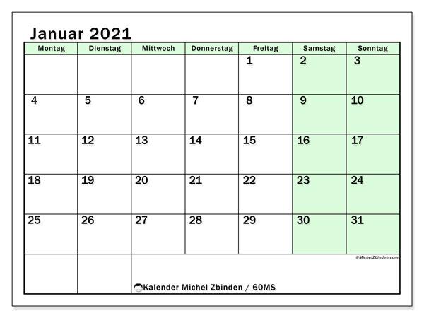 Kalender Januar 2021, 60MS. Kostenloser Zeitplan zum ausdrucken.