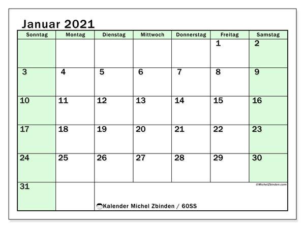 Kalender Januar 2021, 60SS. Kalender für den Monat zum kostenlosen ausdrucken.