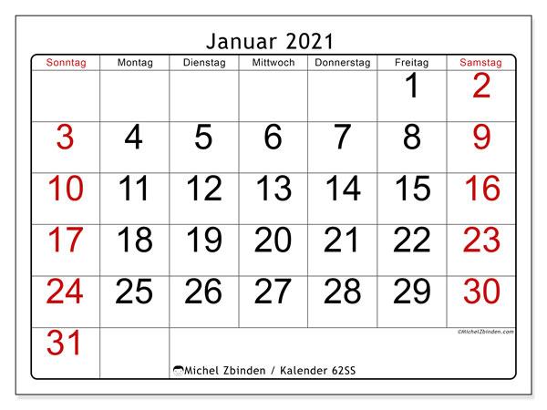 Kalender Januar 2021, 62SS. Kostenlos ausdruckbare Zeitplan.