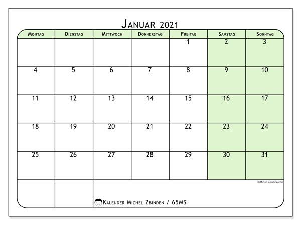 Kalender Januar 2021, 65MS. Kostenlos ausdruckbare Planer.